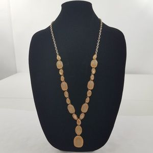 Statement Necklace long Gold Tone Pink Tan Chain F